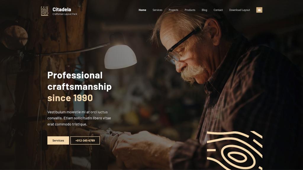 Craftsman homepage header
