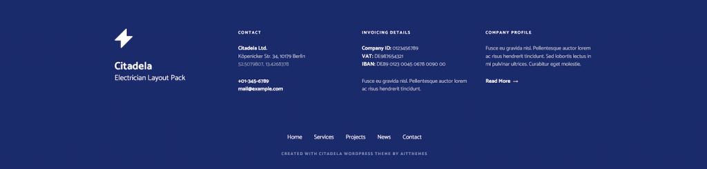 Electrician WordPress theme footer with contact and invoice information