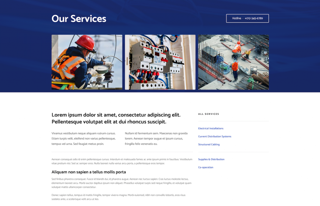electrician services webpage