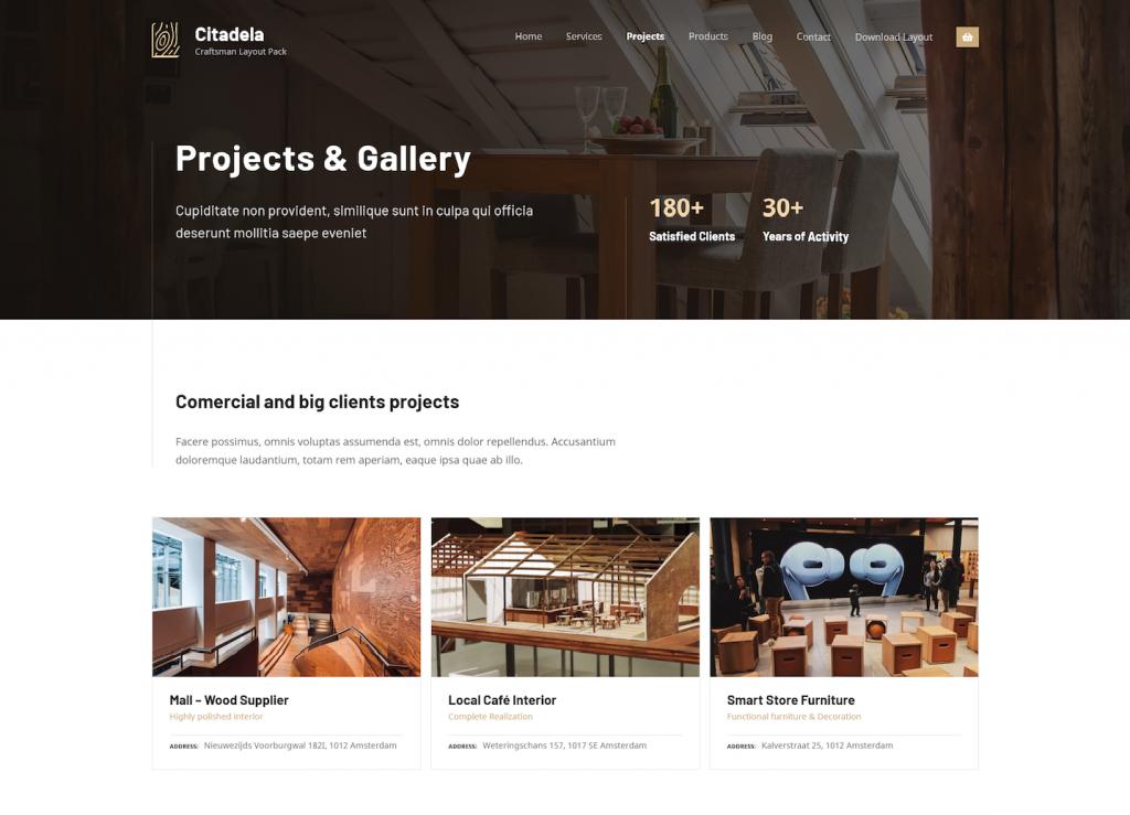 Craftsman WordPress theme projects