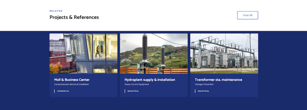 electrician projects displayed on the website for electricians