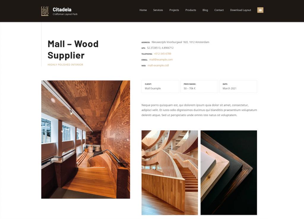 Craftsman WordPress theme project detail
