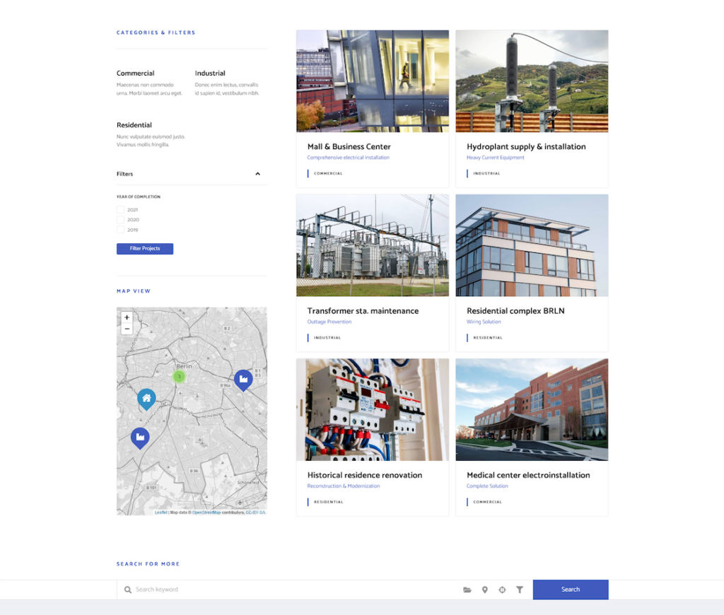 Interactive Projects page on the best Electrician wordpress theme