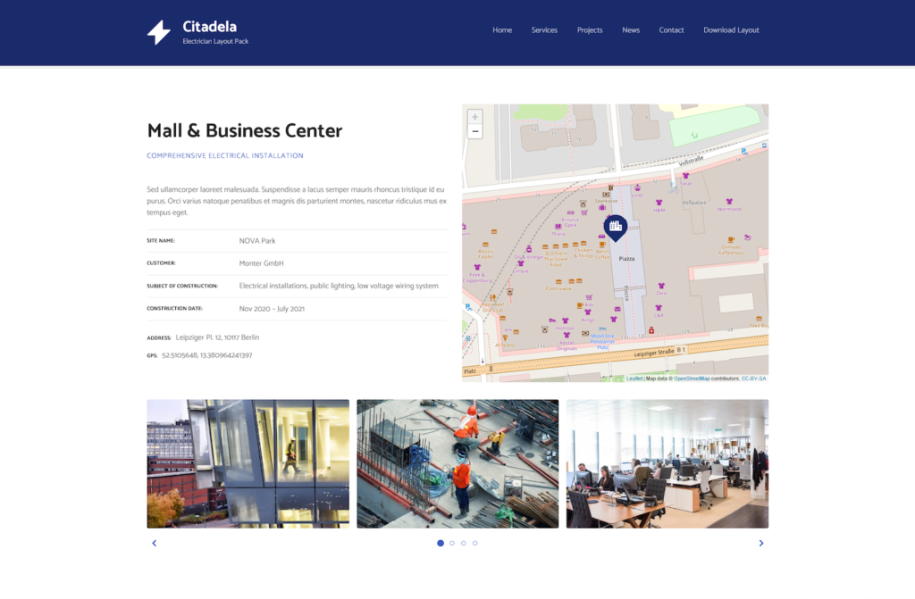 Project detail in Citadela Electrician WordPress layout pack