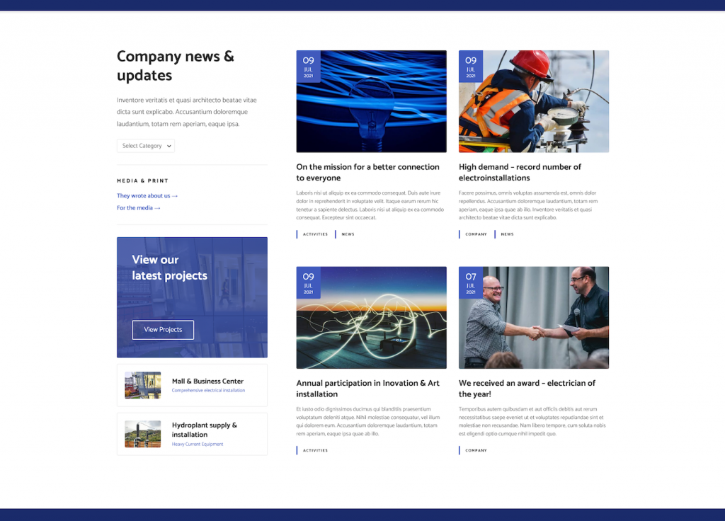 Electrician blog page example in Citadela Electrician wordpress theme layout pack
