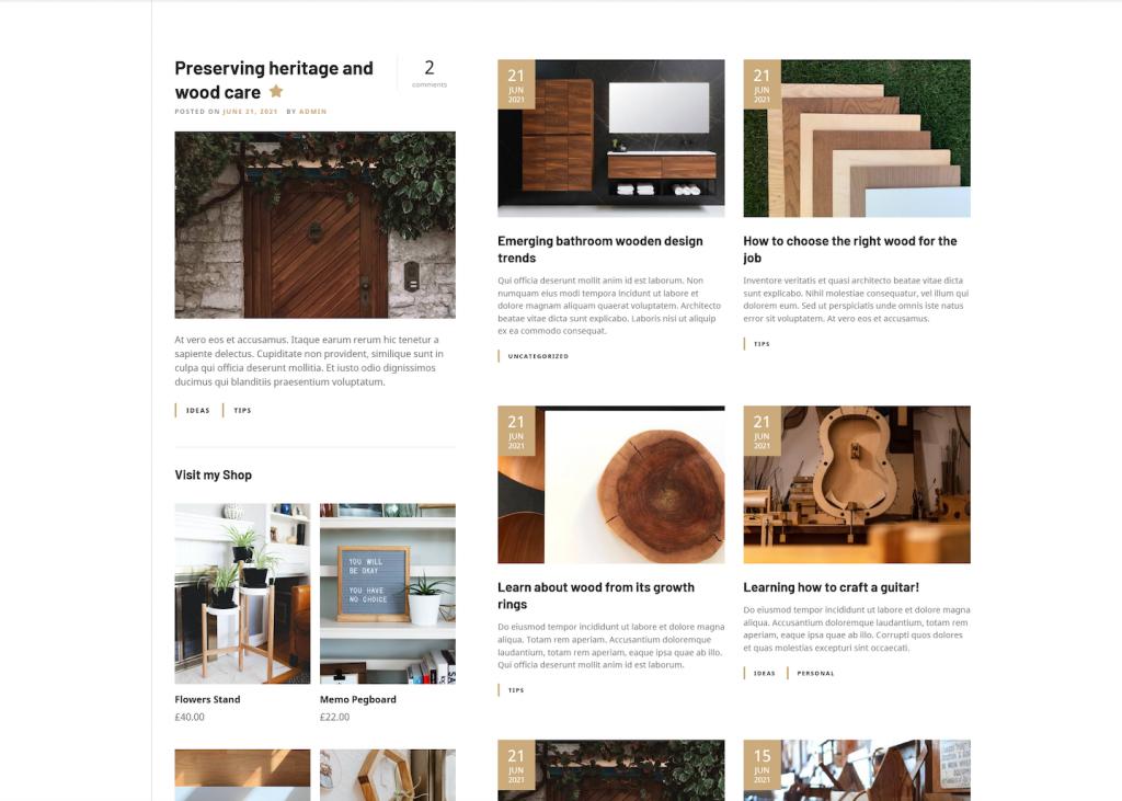 craftsman WordPress theme blog