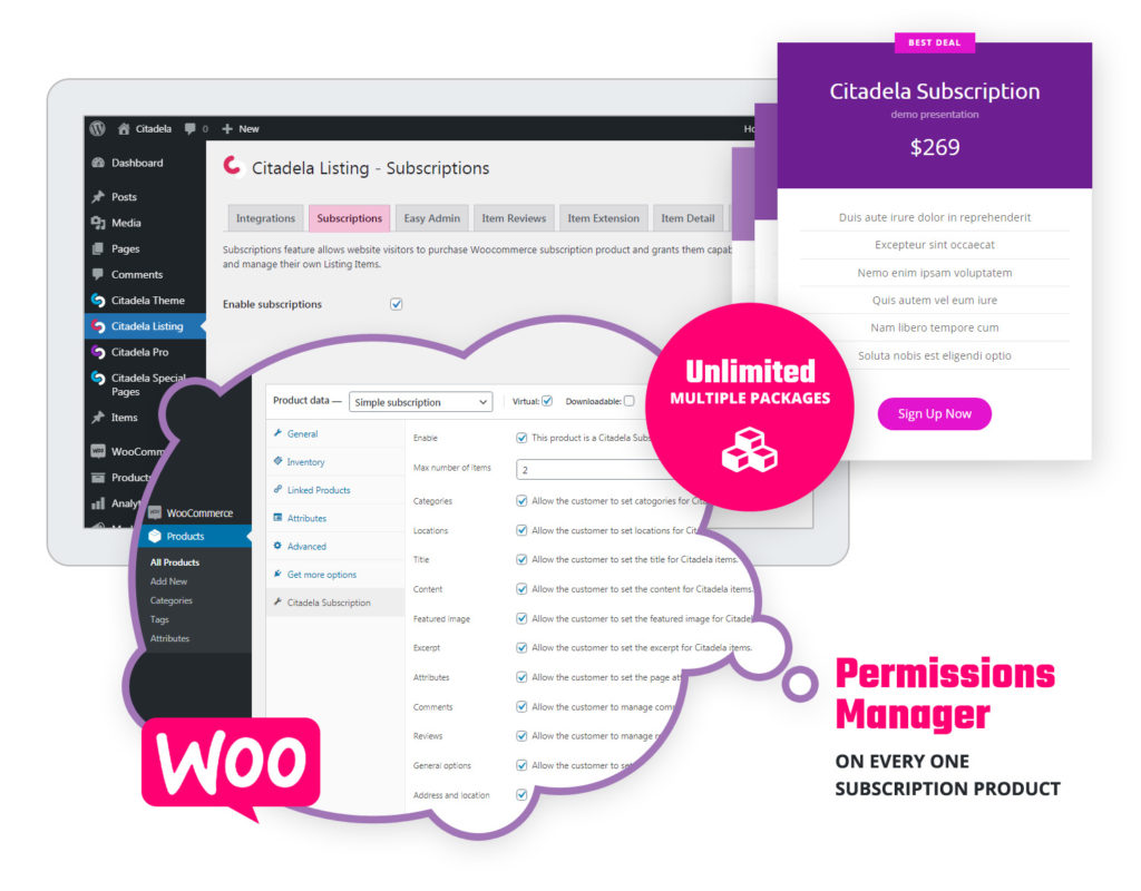 WordPress directory theme subscriptions and Permissions manager