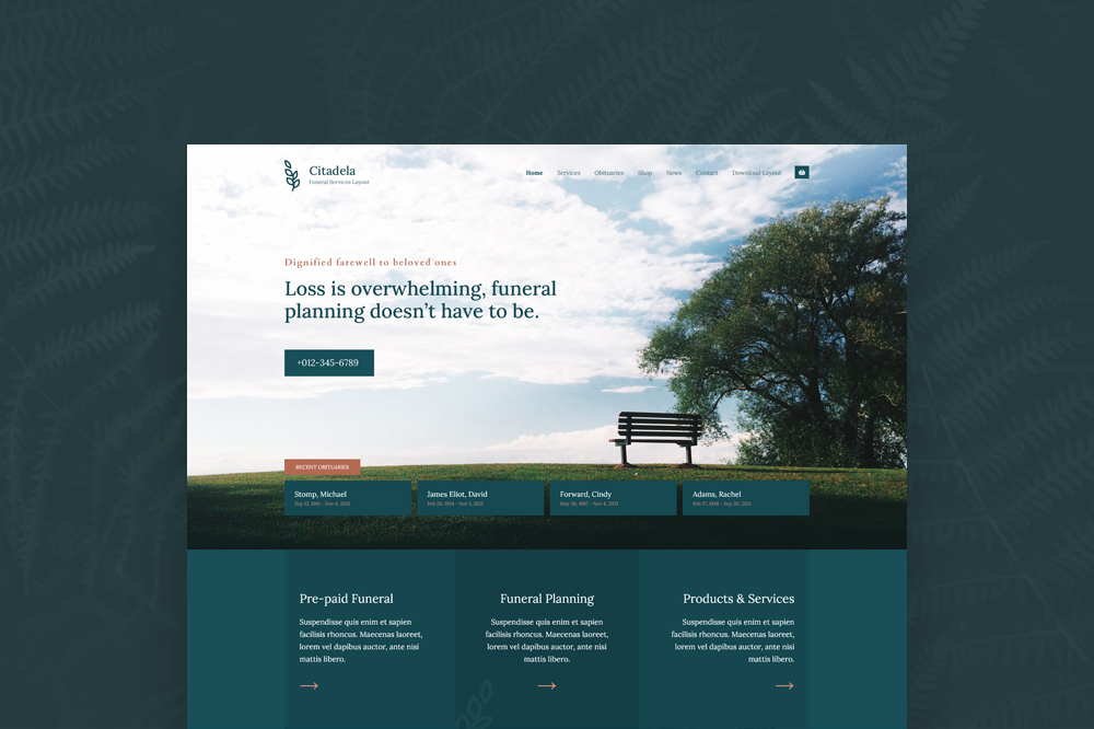 Memorial website template for funeral homes