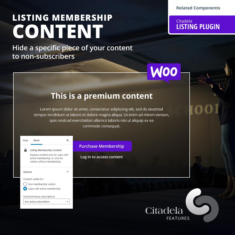 WordPress Paywall feature in Citadela Listing Plugin