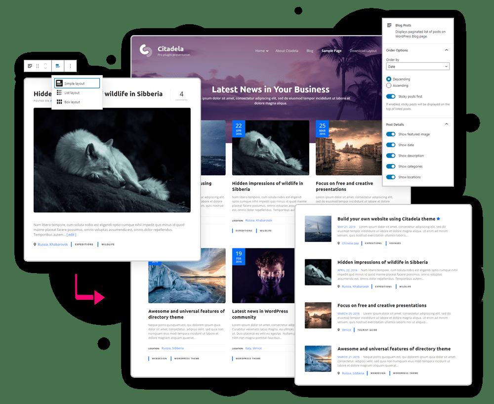 Blog posts layouts